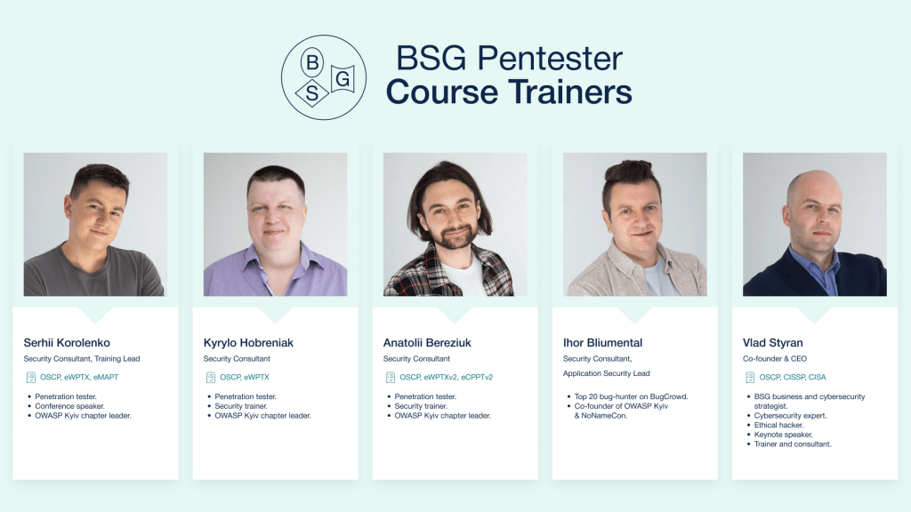 List of BSG Pentester Course Trainers