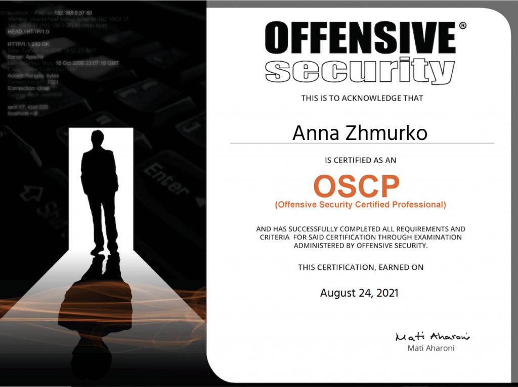 Anna Zhmurko is OSCP-certified