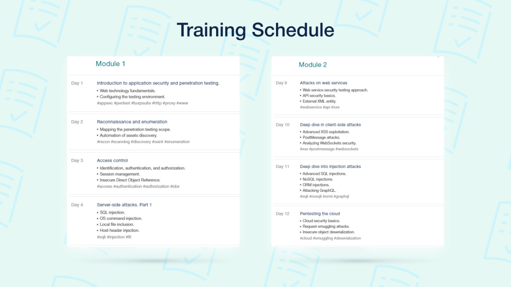 Schedule of the course
