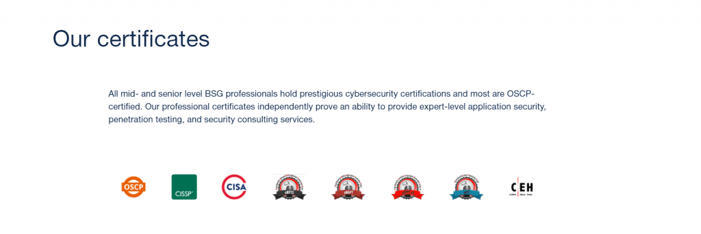 BSG team certificates