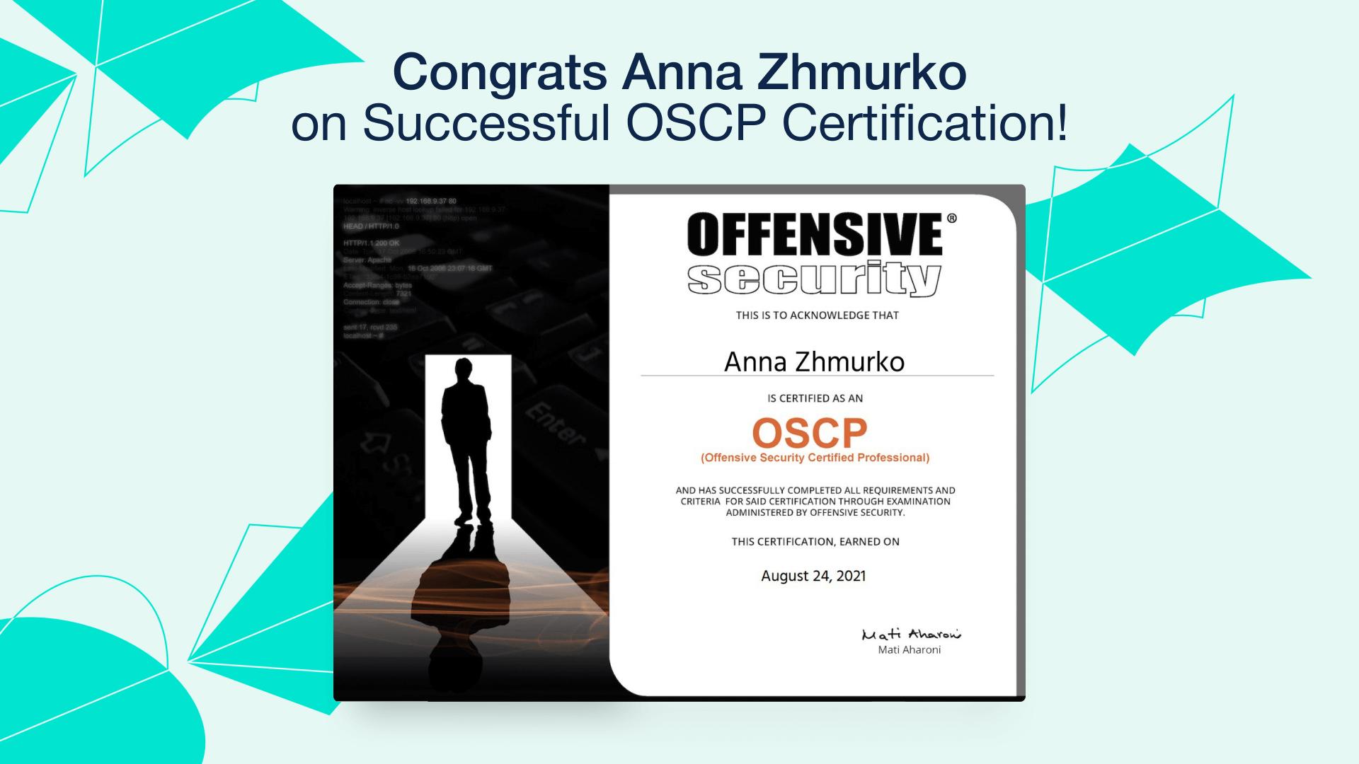 Anna Zhmurko OCSP Certification